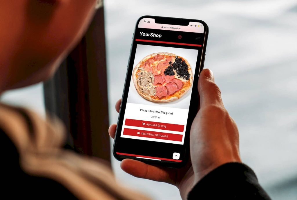 sistem de comenzi online pentru restaurant, client comanda mancare pe telefon