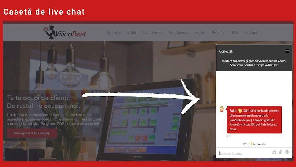 idei de marketing online pentru restaurante, caseta de chat in website, infografic