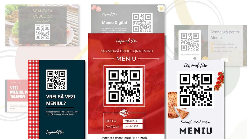 modele grafice pentru meniu digital QR
