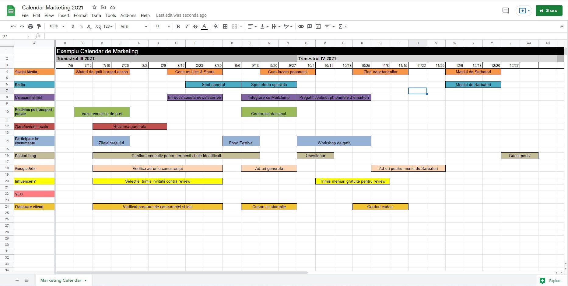 template calendar de marketing, plan marketing restaurante